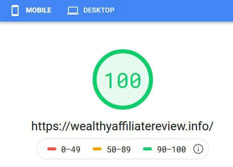 Screenshot of Google Site Speed tool rating my Wealthy Affiliate hosted site at 100%