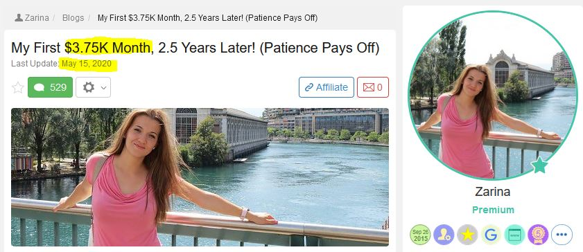 wealthy affiliate success: Zarina earns $3,750 a month