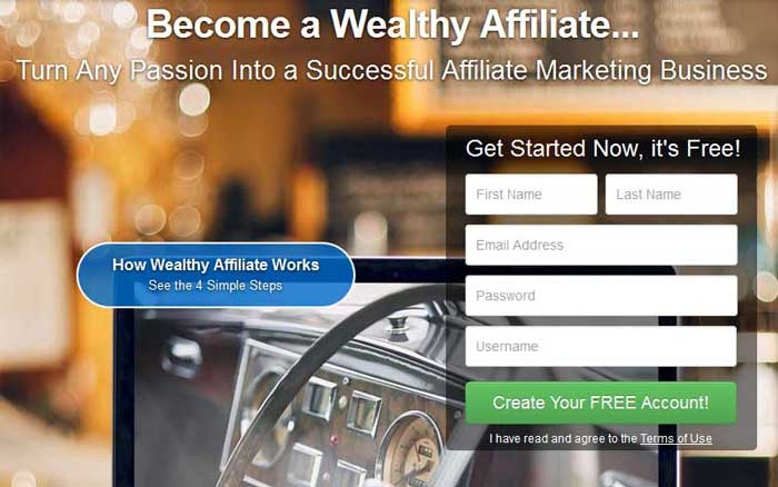 Wealthy Affiliate review - screenshot of the website